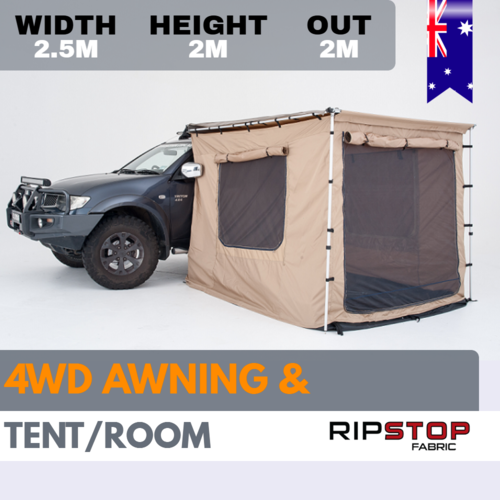 4x4 4WD AWNING + TENT / ROOM CANVAS 2 X 2.5M 400gsm