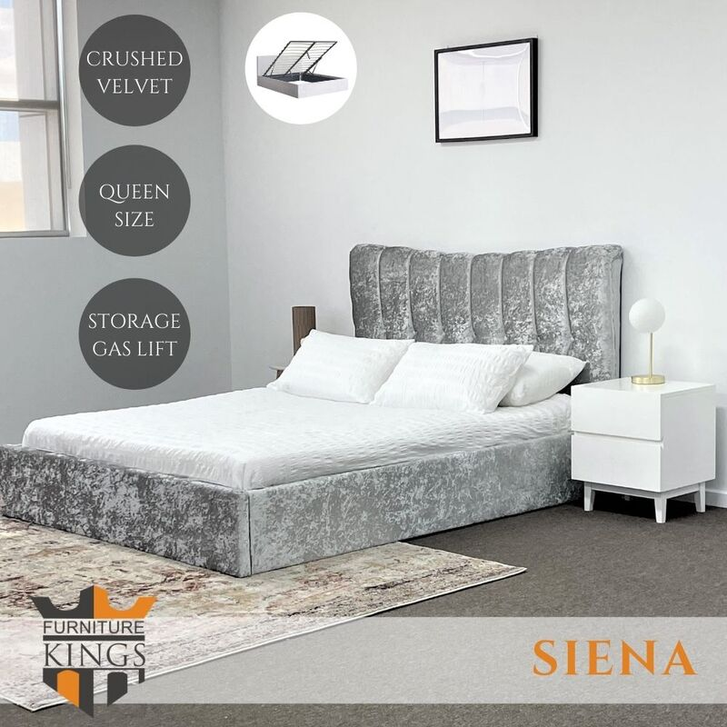 Siena Queen Size Gas Lift Storage Bed Frame Silver Crushed Velvet Fabric Upholstered