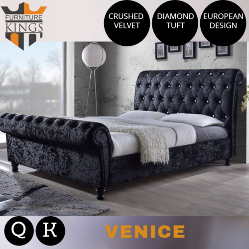Venice Black Luxury Velvet Fabric Bed Frame King or Queen