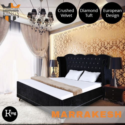 Marrakesh Black Velvet King Bed
