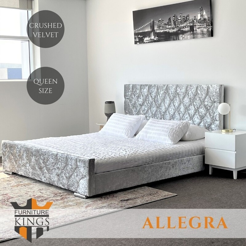 Allegra Diamond Tufted Silver Grey Velvet Bed Queen by Furniture kings