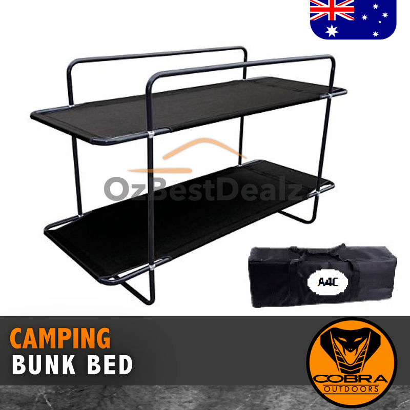 DOUBLE BUNK BED BLACK STRETCHER CAMPING OUTDOOR BED