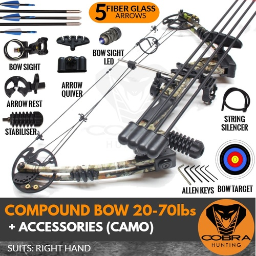 20-70lbs Camo Compound Bow (Arrow x 5)