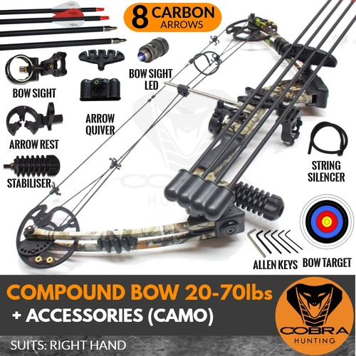 20-70lbs Camo Compound Bow RH X8 CARBON ARROWS