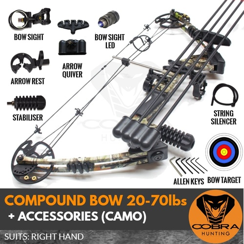 20-70lbs Camo Compound Bow + Accessories RH