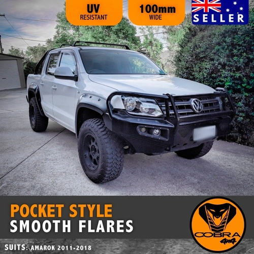 Matte Black Pocket Style Flares Suits Volkswagen Amarok 2010 - 17 Fender guard