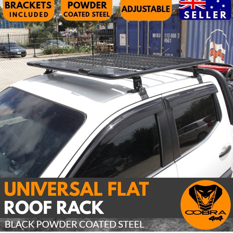 Cobra 4x4 Universal Flat Roof Rack Black Powder Coated Steel Rack Ranger BT50 Hilux NP300 Cage