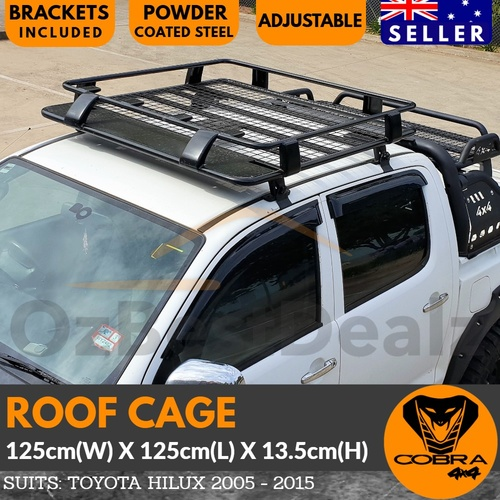 Cobra 4x4 Roof Cage Suits Hilux 2005-2015 Black Powder Coated Steel Rack