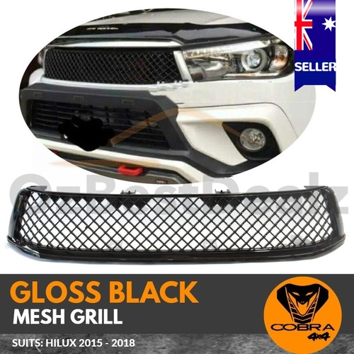 GLOSS BLACK MESH GRILL GRILLE Suitable for TOYOTA HILUX 2015 - 2018