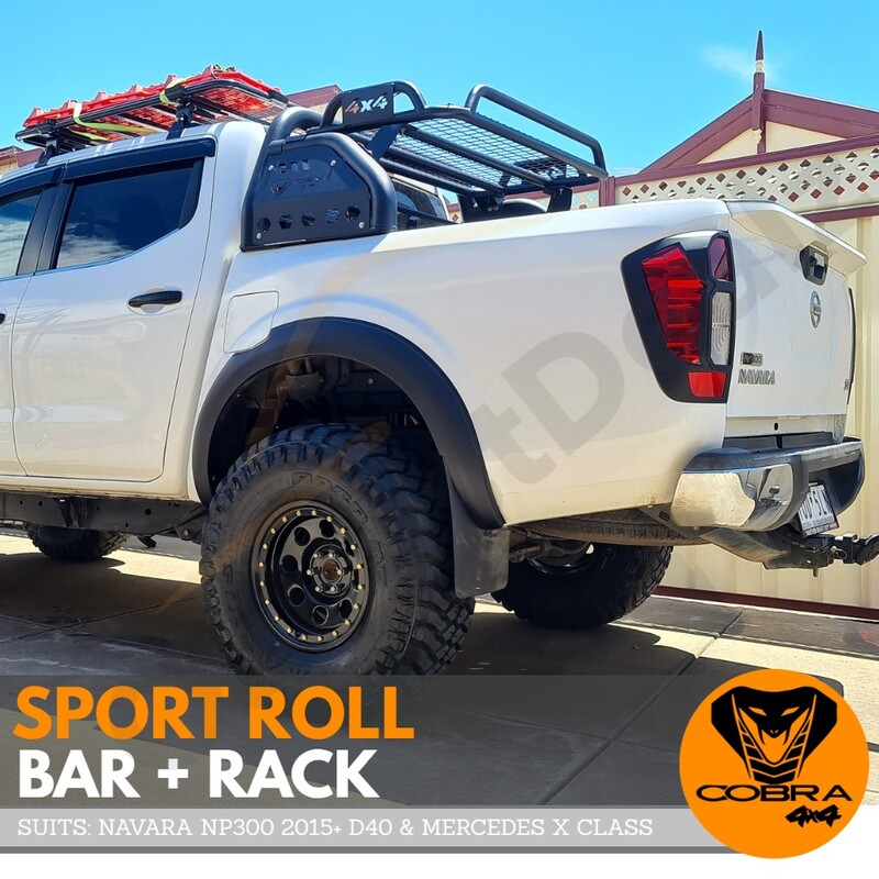 Cobra 4x4 Sports Roll Bar + Cage Rack Suits Nissan Navara NP300 2015 - 2020 D23 Black