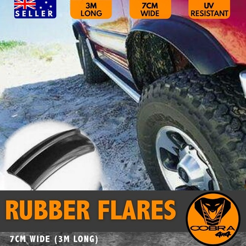 RUBBER FENDER FLARES 7CM X 3M WHEEL ARCH FLEXIBLE EXTRA COVER
