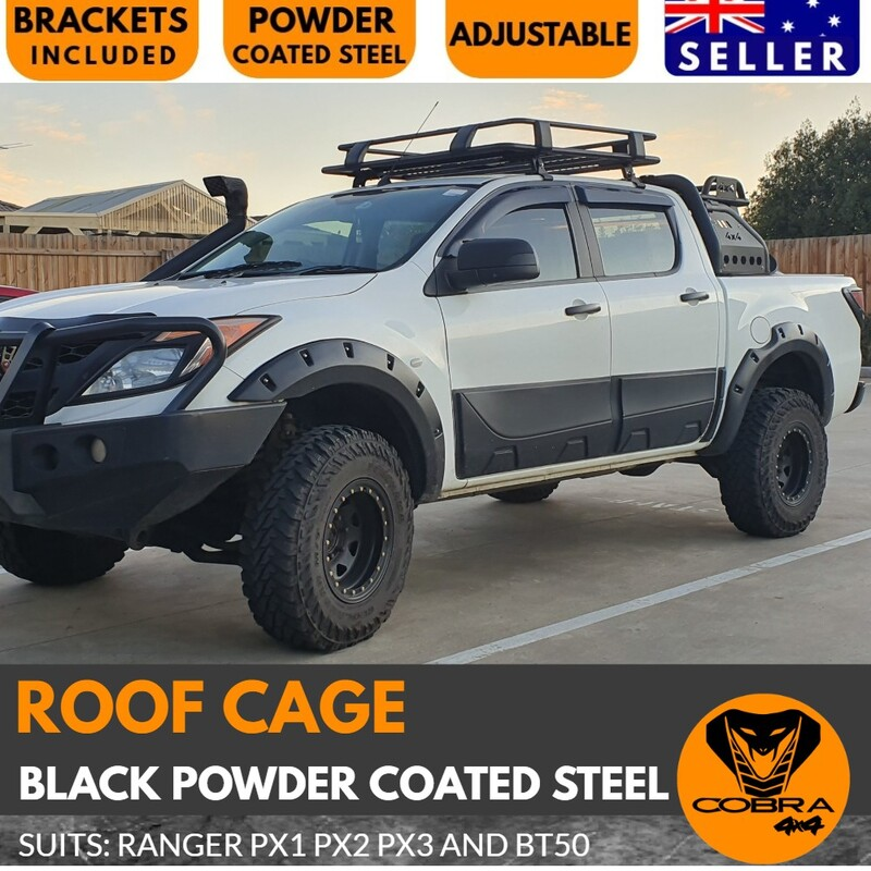 Cobra 4x4 Roof Cage Rack Suits Ranger BT50 2012 onwards PX1 PX2 PX3 Black Powder Coated Steel Mazda No drilling