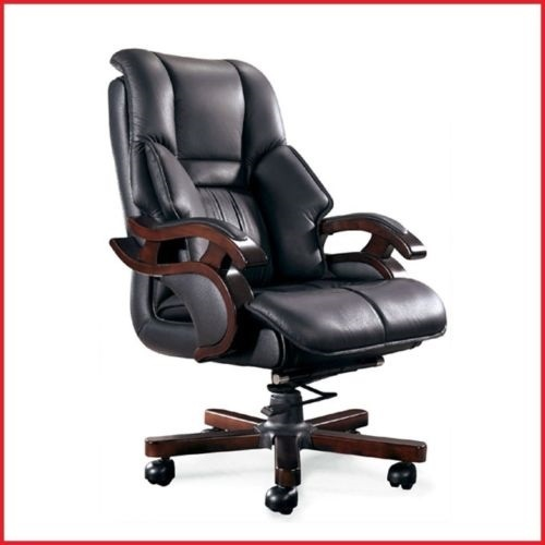 OFFICE BOSS DESK EXECUTIVE CHAIR COMPUTER SEAT PU LEATHER PADDED LUXURY WOOD