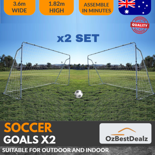 2 x SOCCER FOOTBALL GOALS STEEL MESH NET 3.6M WIDE X 1.82M HIGH