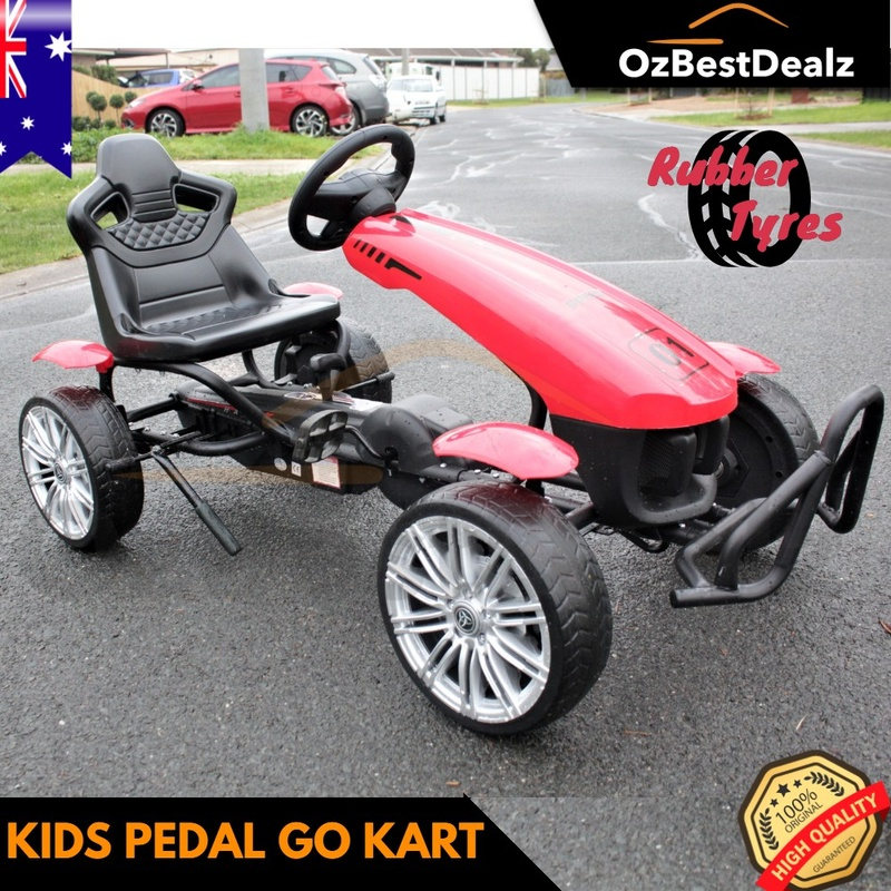 Kids Pedal Go Kart Ride on car Blue Red Toy Bike Rubber Tyre Bicycle ca