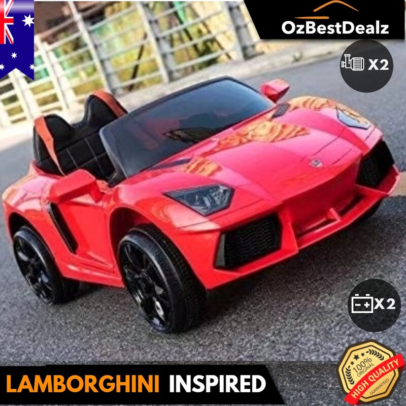 Lamborghini inspired white red Sports Kids Ride On Car Remote Control Battery