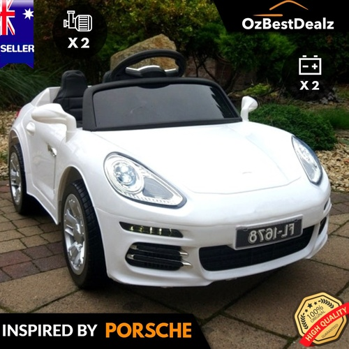 Porsche Inspired White Ride On Car for kids
