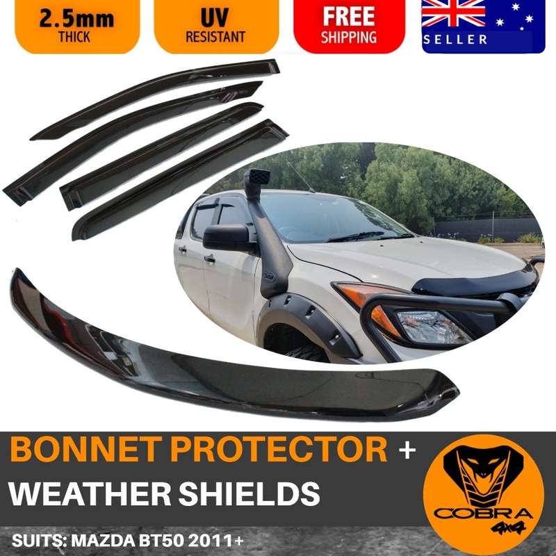 WEATHER SHIELDS AND BONNET PROTECTOR SUITS MAZDA BT50  2011 - 2018 BT-50