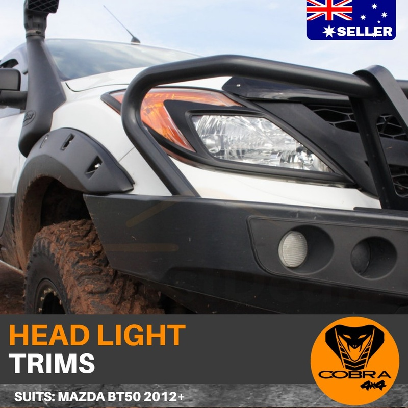 Matte Black Head Light Trim Covers suits Mazda BT50 2012 - 2018