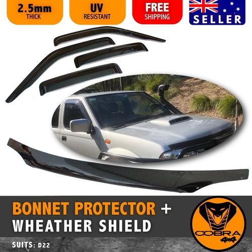 NAVARA D22 BONNET PROTECTOR AND WEATHER SHIELD 2002 TO 2015