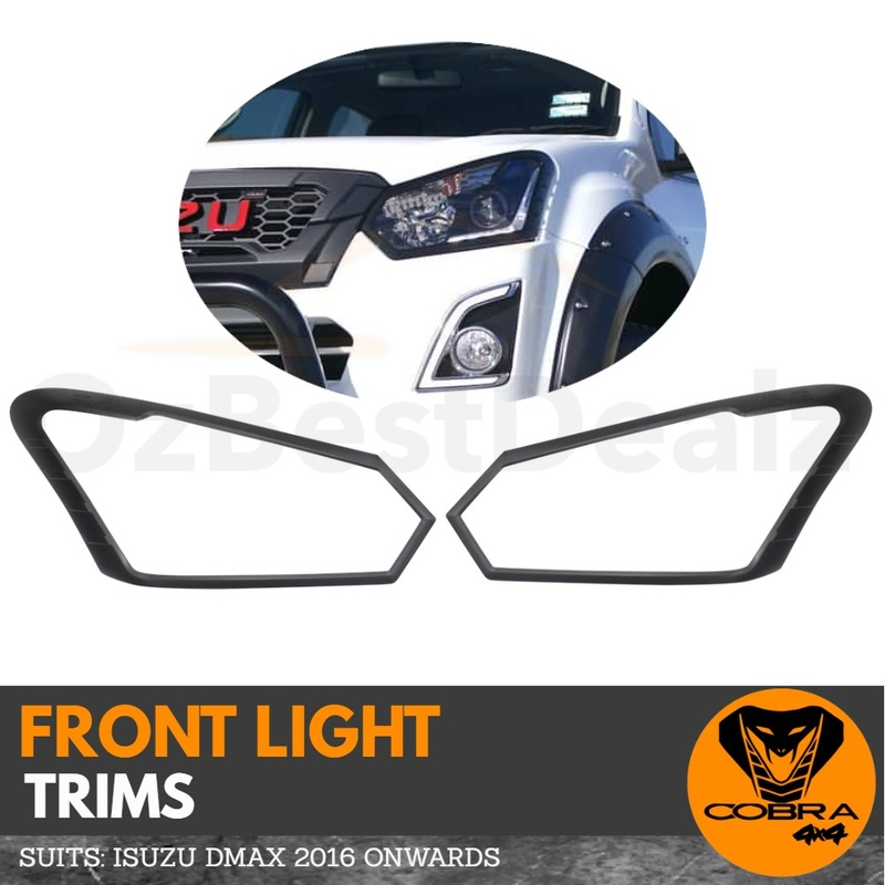 Matte Black Head Light Trim Cover Protector Suits ISUZU DMAX 2016 - 2019 D-MAX