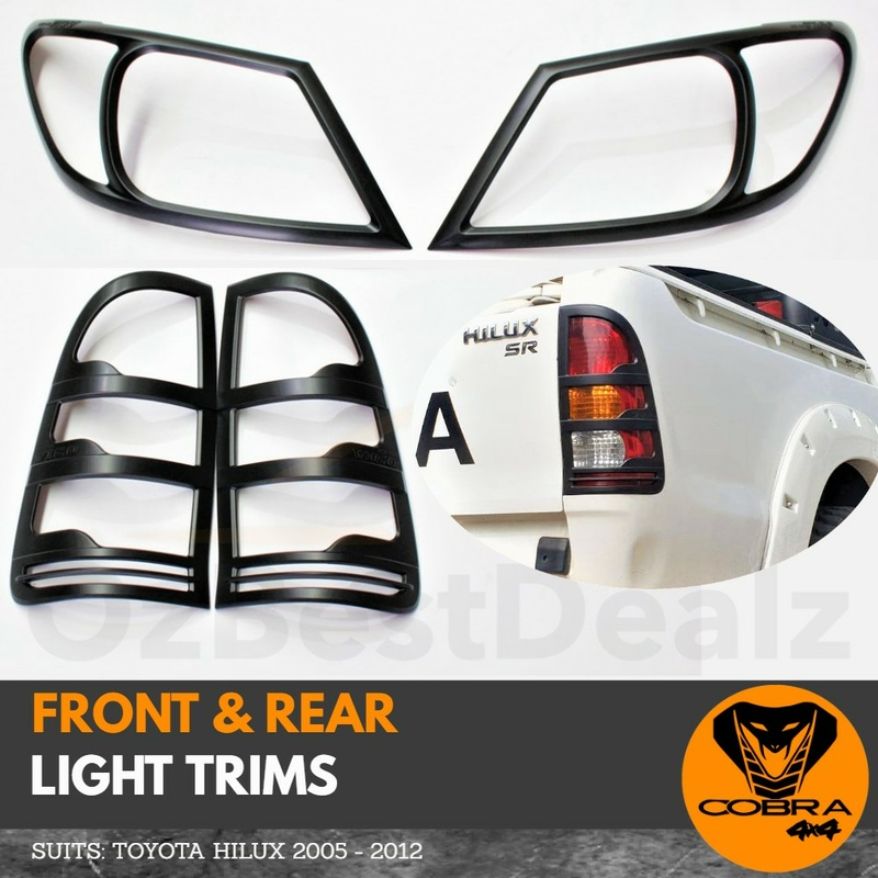 Matte Black Head Light and Tail Light Trim Covers Suitable for Hilux 2005 - 2012
