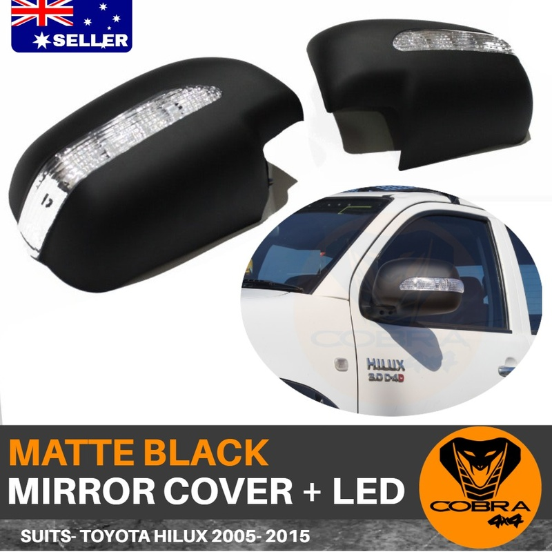 Matte Black Mirror Covers suitable for Toyota Hilux 2005 - 2015  With LED Indicator