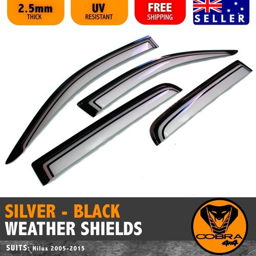 SILVER Injection Weather Shields FIT HILUX SR5 05-15 SR