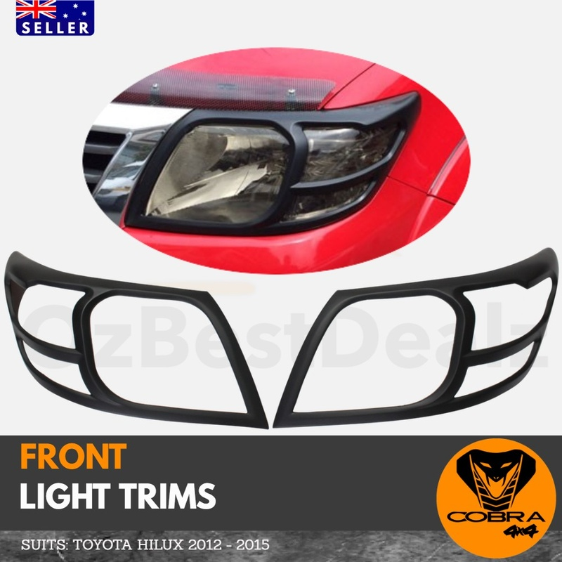 Matte Black Head Light Trims suitable for Toyota Hilux  2012 - 2015 Cover Protector