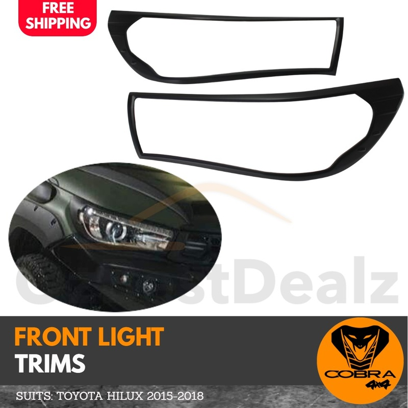 Matte Black Head Light Trim suitable for Toyota Hilux 2015 - 2018 Cover Protector SR TRD