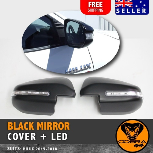 MATTE BLACK MIRROR COVERS WITH LED  TOYOTA HILUX 2015 -2019