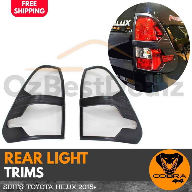 Matte Black Tail Light Trim Cover suitable for Toyota Hilux  2015 - 2019
