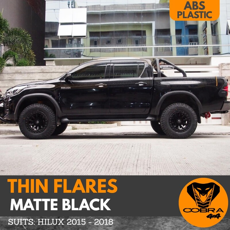 Thin Matte Black Flares suitable for Toyota Hilux sr5 sr trd 2015 - 2018 Slim Skinny