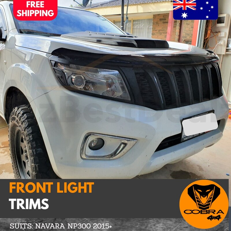 Matte Black Head Light Trims Covers SUIT Navara NP300 2015 2016 2017 2018