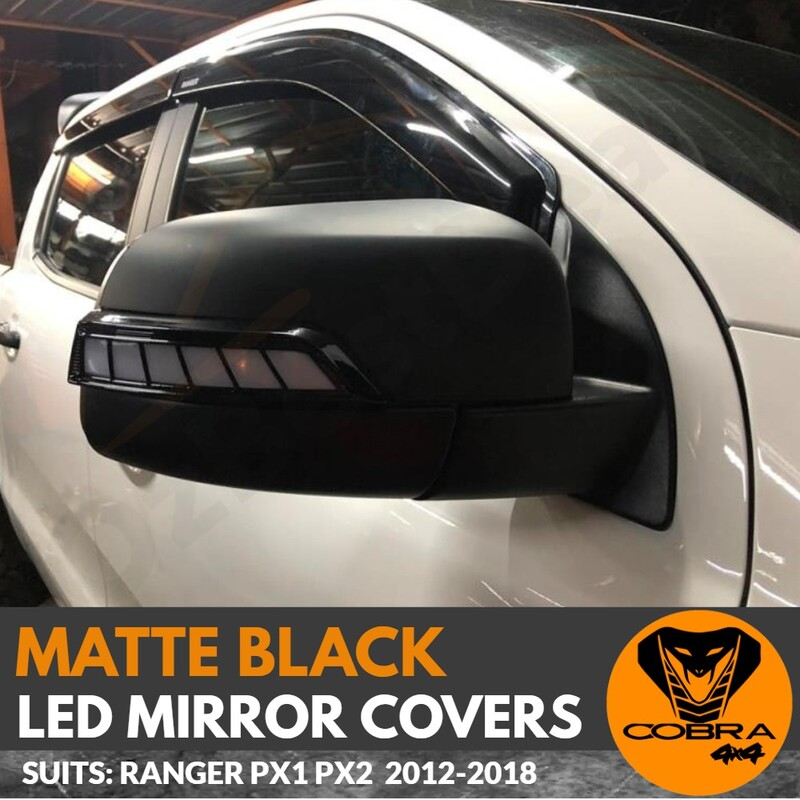 Mirror Covers LED Matte Black FITS Ford Ranger PX1 PX2 PX3 2012 - 2018 Everest