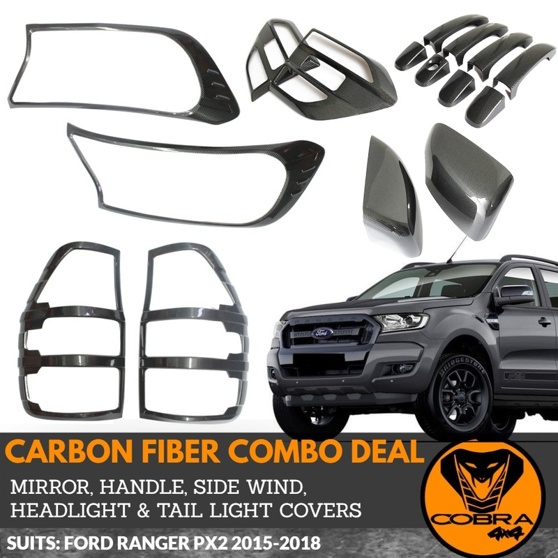 Mirrors + Handles + Side Wind + Light Covers Carbon Fibre style FITS Ford Ranger 2015 -19 Fiber PX2 PX3