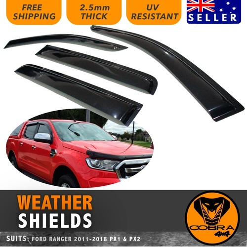 WEATHER SHIELD GUARD FITS FORD RANGER PX1 PX2 PX3 MK2 2011-21 WINDOW VISORS PROTECTORS TINTED