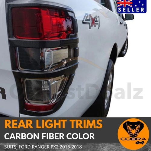 CARBON FIBER Tail Light Trim CoverSuits Ford Ranger 2012 - 2019 Fibre