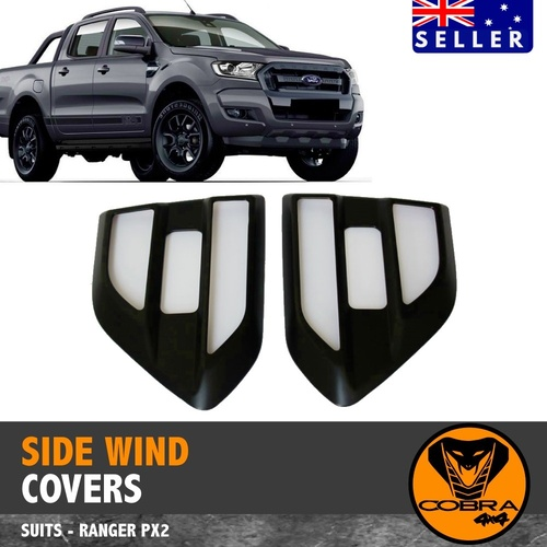 Matte Black Side Vent Wind Covers fit Ford Ranger Everest 2015 - 2020