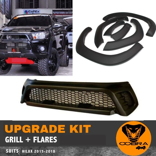 Flares & Grill suitable for Toyota Hilux 2015 - 2018 SR SR5 TRD