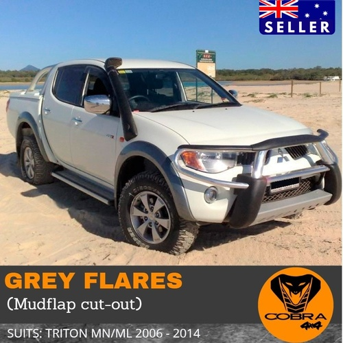 Mitsubishi Triton 2006-2014 MN/ML Fender Flare Kit Grey (Mudflap cutout)
