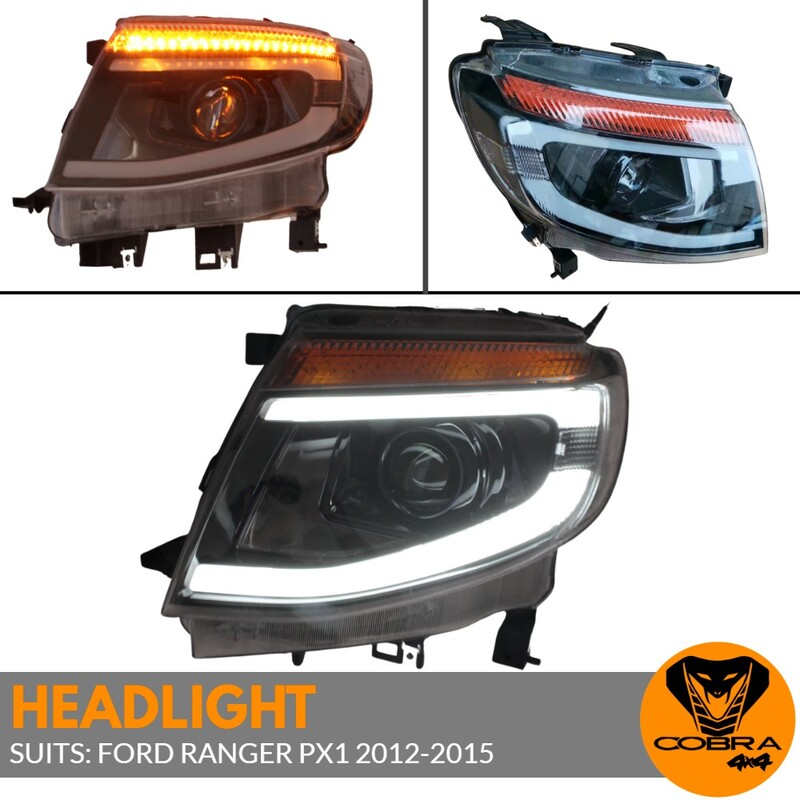 Front DRL Head Lights Projector Lamp Led for Ford Ranger PX1 2011 - 2015 Headlights Pair